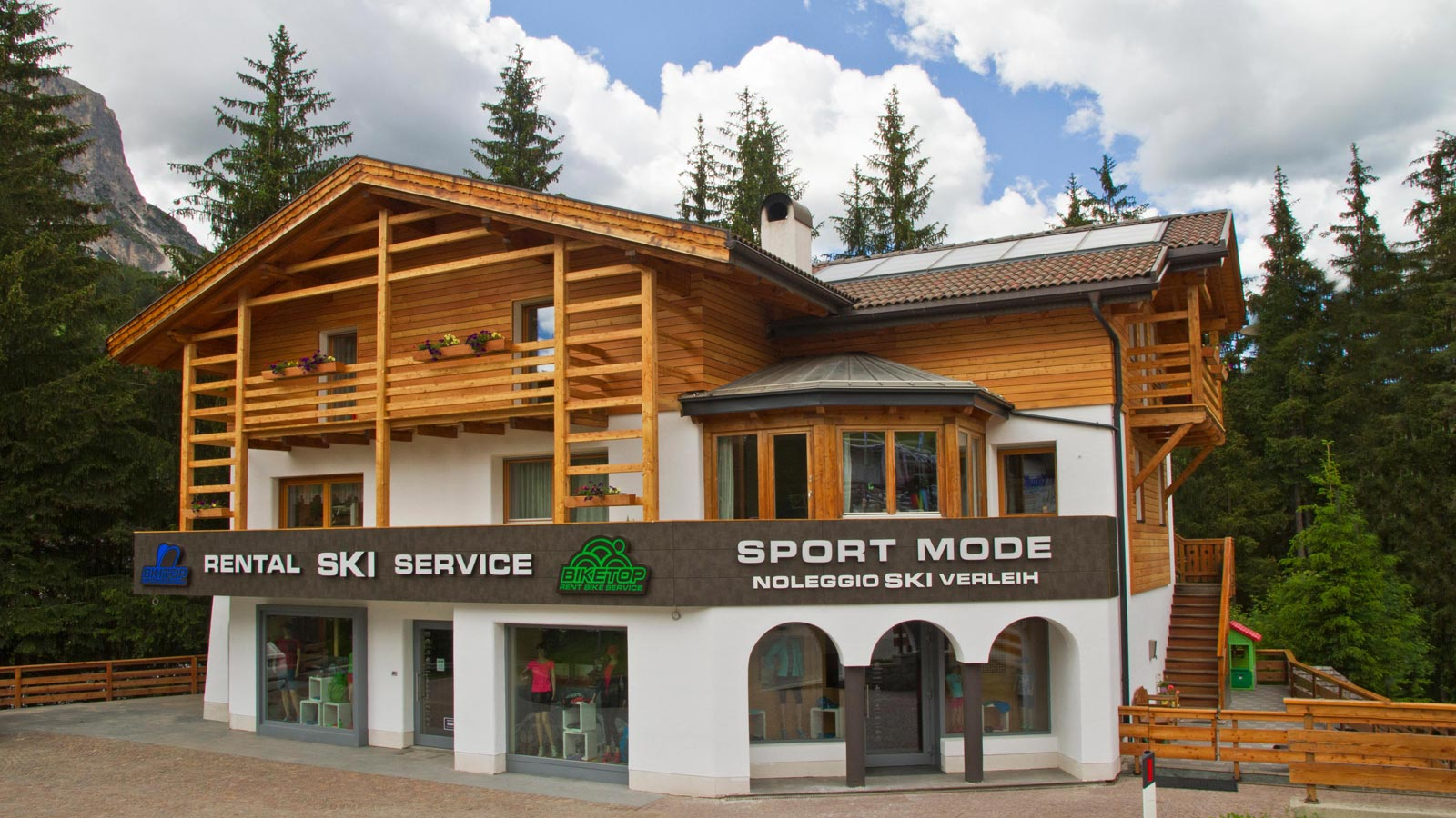 The front of the bike rental shop in Badia